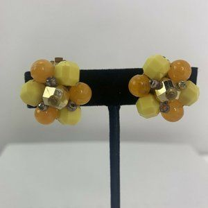 Vintage Faceted Beaded Cluster Clip On Earrings